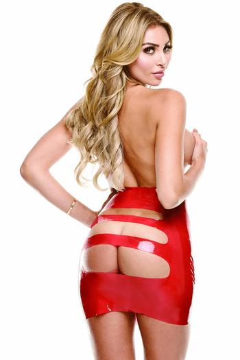 Red Wet Look Rear View Mini Skirt