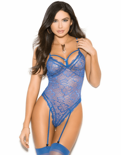 Reserved For You Royal Blue Lace Garter Teddy