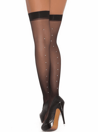 Rhineston Back Seam Sheer Thigh Highs