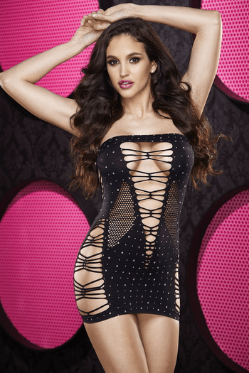 Rhinestone Backroom Mini Dress
