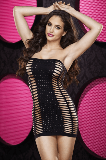 Rhinestone Naughty Girl Mini Dress