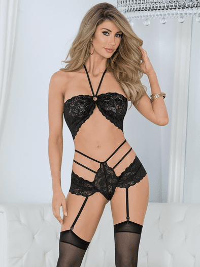 Ring My Bell Lace Bra, Gartered Panty, & Stockings Set