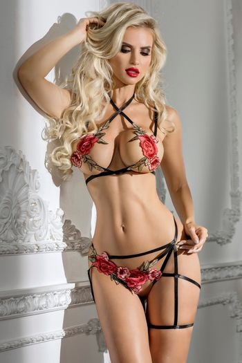 Rosa Halter Top & Crotchless Panty