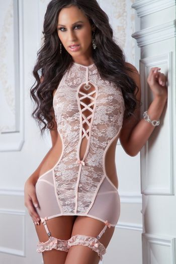 Rose High-Neck Plunging Gartered Chemise