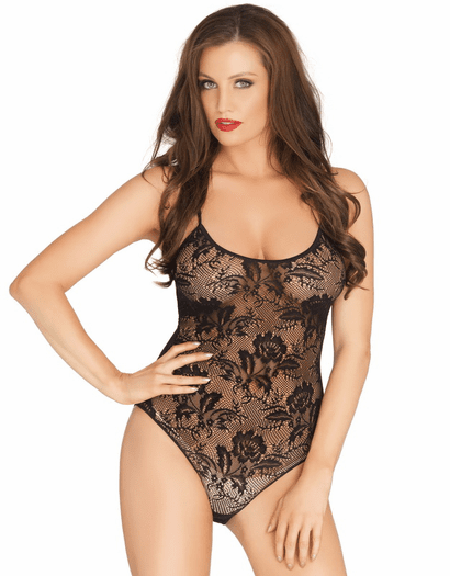Rose Lace Strappy Black Teddy