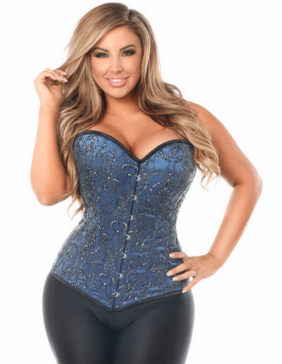 Royal Blue Embroidered Corset