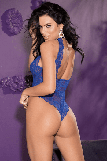 Royal Blue Lace Criss Cross Front Teddy
