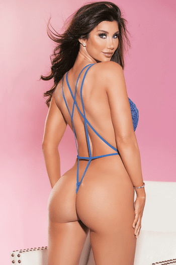 Royal Blue Plunging Lace Teddy