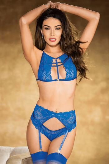 Royal Textronic Stretch Lace Crop Top & Thong Set