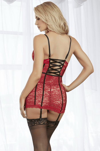 Ruby Lace Underwire Garter Chemise