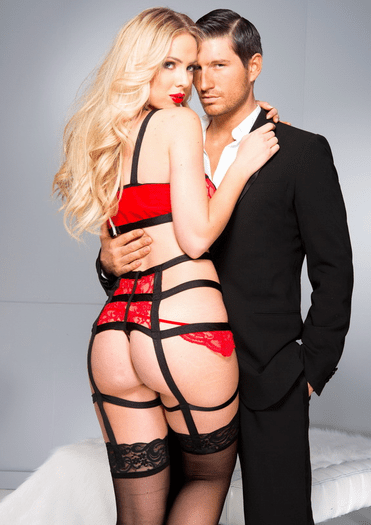 Ruby Red Lace Garter Strappy Teddy