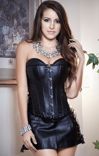 Rushing Into Trouble Black Faux Leather Corset
