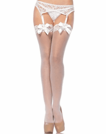 Satin Bow Lace Top Thigh High Stockings