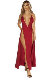 Satin Double Slit Gown