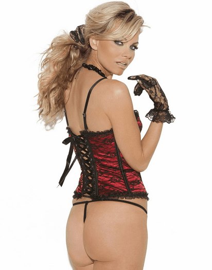 Satin Lace Overlay Bustier