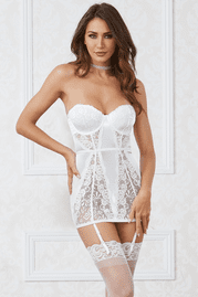Satin & Lace Strapless Pearl Collar Chemise