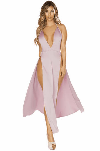 Satin Mauve Double Slit Gown