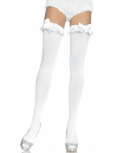 Satin Ruffle & Bow Thigh Highs