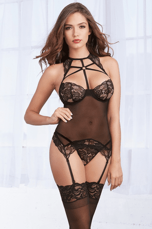 Scalloped Stretch Lace & Mesh Gartered Bustier & G-String