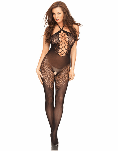 Seamless Opaque Black Crotchless Bodystocking