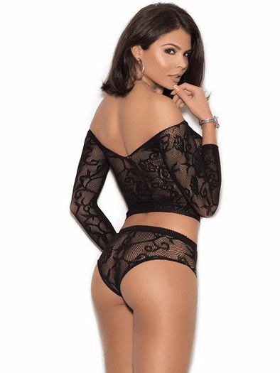 Secret Infatuation Lace Crop Top & Panty Set