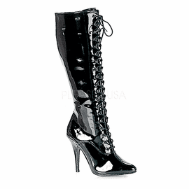 Black Front Lace Up Knee High Patent Boots