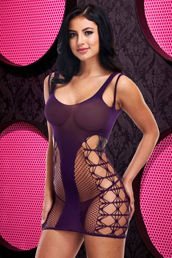 Seduce The Night Purple Bodystocking Chemise