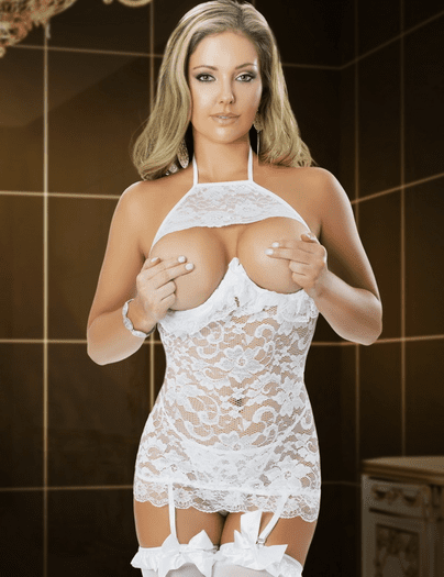 Seducing Him Open Bust Chemise & G-String Set