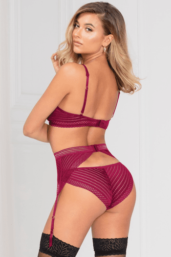 Seduction At Its Fullest Wine Bra & Garterbelt Set