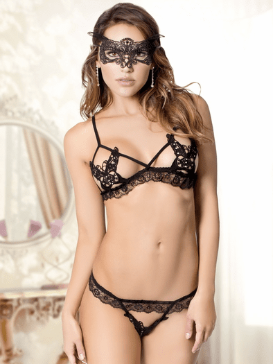 Send You My Love Bralette & Crotchless G-String Set
