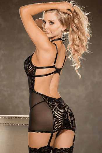 Sexy Crochet Inspired Lace Gartered Chemise