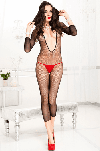 Sexy Hooded Fishnet Crotchless Bodystocking