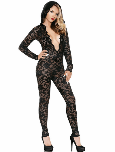 Sexy Lace Hooded Jumpsuit