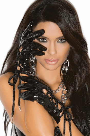 Vinyl Lace Up Gloves