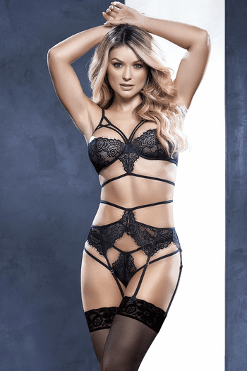Play Time Black Lace Bra Set