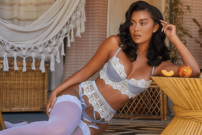 She's The One Embroidered Bra Set