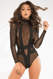 Black Sheer & Opaque Long Sleeve Bodysuit