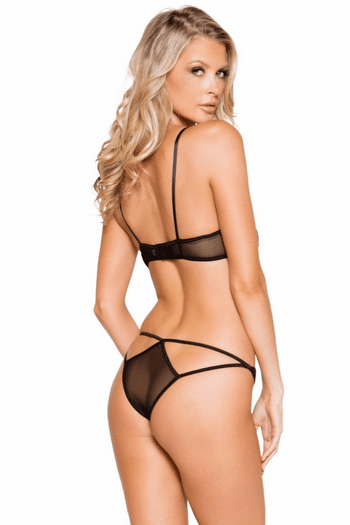 Sheer Mesh and Lace Bra Set