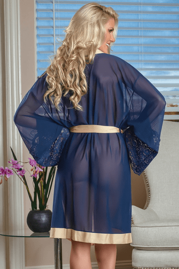 Sheer Mesh and Lace Robe