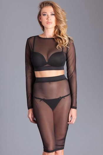 Sheer Mesh Top & Skirt Set