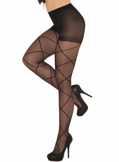 52afb6965 Sheer Pantyhose With Criss Cross- Spicy Lingerie