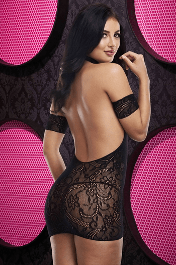 Show Him Love Black Lace Bodystocking Chemise