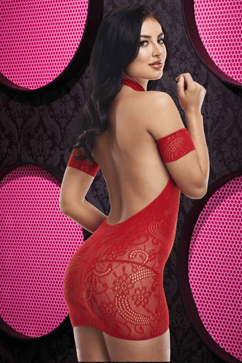 Show Him Love Red Lace Bodystocking Chemise