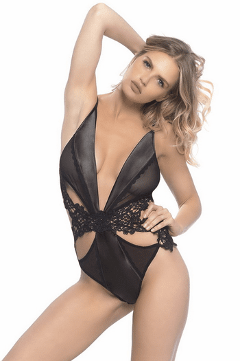 Side Chick Satin Embroidered Teddy