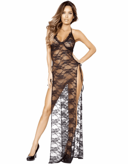 Side Tie Lace Lingerie Gown