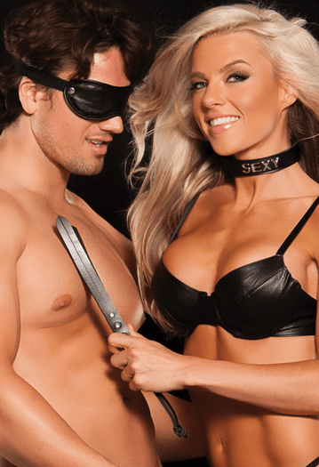 Simply Sexy Mask, Collar, Paddle & Ring Set