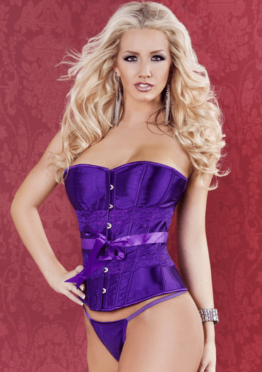 Purple Strapless Lace Up Corset