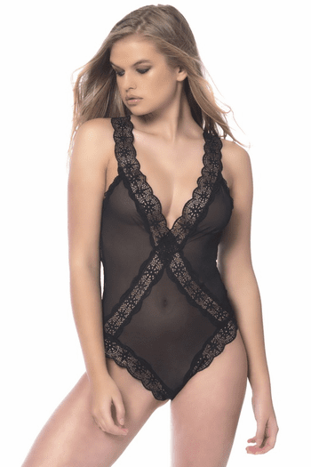 Soft Geometric Lace Teddy