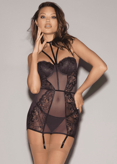 Sheer Lace Gartered Chemise Set