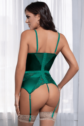 Starstruck Green Satin & Lace Bustier